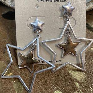 Silver Two-toned Star Earrings